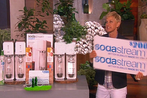 Ellen Degeneres giving away SodaStream as an eco-friendly giveaway for Earth Day.