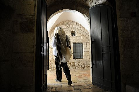 Orthodox Jew at King David's Tomb in Old City of Jerusalem.