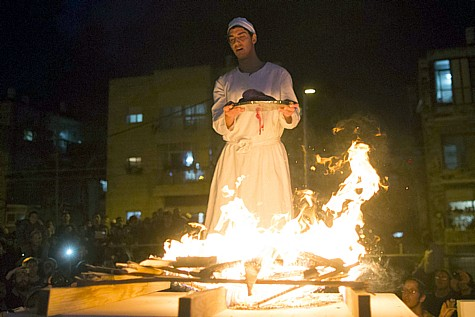 A recreation of the Passover sacrifice in Jerusalem, on April 10, 2014.