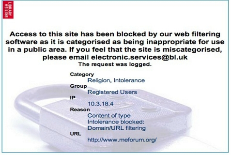 "Notice that pops up if you enter ""MEForum.org"" in the British Library catalogue system."