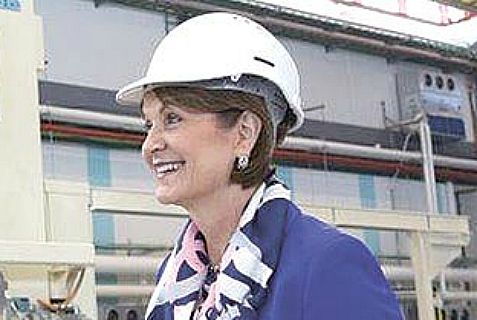 Lockheed Martin CEO Marillyn Hewson at Israeli factory that is manufacturing wings for the F-35 stealth jet.