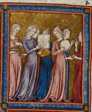 Miriam at the Sea (detail) Golden Haggadah, (1340), Fol.15. Courtesy British Library, London
