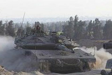 Israeli Merkava tanks returning to their base, after morning patrol.