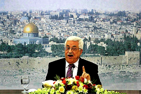 Palestinian Authority Chairman Mahmoud Abbas speaking in Ramallah.