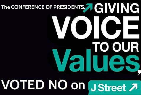The Conference of Presidents of Major American Jewish Organizations voted against the admission of J Street.