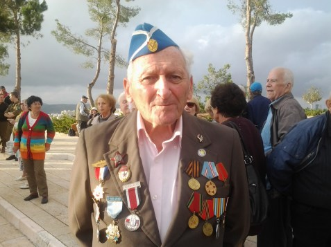 Yakov Karasin, a Jewish WWII veteran at the Yad Vashem ceremony on Thursday, May 8, 2014