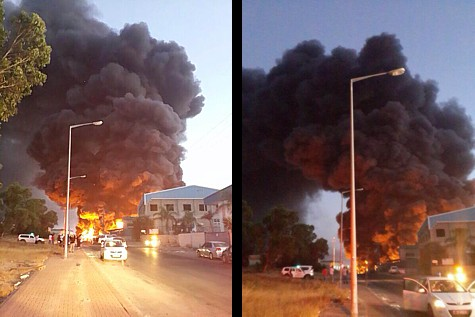 A Gazan Rocket hit a factory in Sderot, causing a massive fire.
