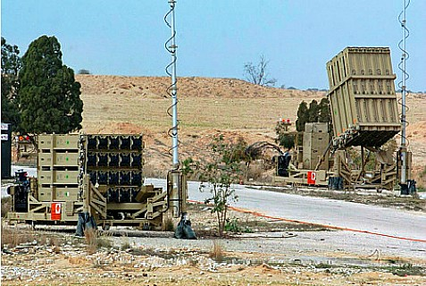 Iron Dome Missile Defense System protecting parts of southern Israel.