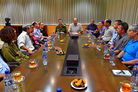 The families of the Kidnapped Israeli Teenagers, at the Kirya in Tel Aviv with Minister of Defense Moshe Yaalon.