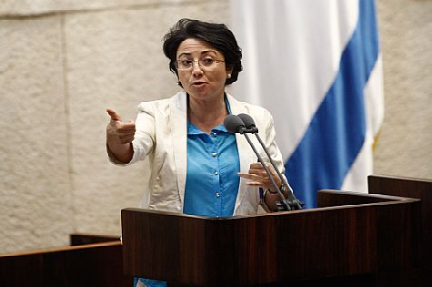 MK Hanin Zoabi making a point from the Knesset podium, July 2013.