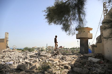 Destroyed Hamas terror base after IAF air strike in Gaza.