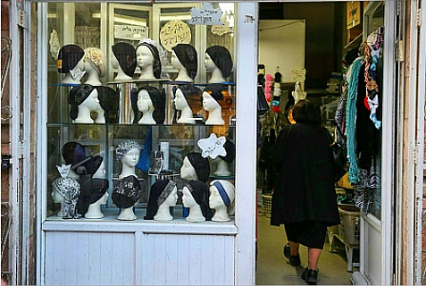 Head coverings and hats for women for sale in a shop in Jerusalem on February 20, 2014.