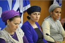 The mothers of the three kidnapped boys, Iris Yifrach (R), Bat Galim Shaar (C), Rachel Frenkel (L), seen at the Knesset during a meeting with Knesset members, on the 13th day of ongoing searches for them in the Disputed Territories on June 25, 2014.