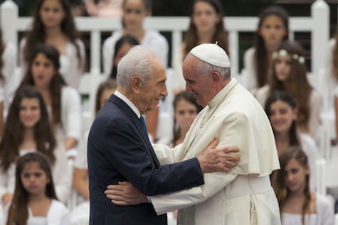 Pope Francis with Shimon Peres, last month in Jerusalem.