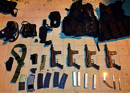 Weapons recovered by the IDF in the homes of Arabs in Nablus as they searched for the Kidnapped Boys on June 16, 2014.