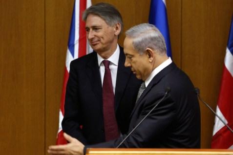 Prime Minister Netanyahu and British Foreign Secretary Philip Hammond, July 24, 2014.