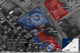 Map of Hamas terror bases and tunnel adjacent to hospital in Jabaliya in northern Gaza. July 22, 2014.