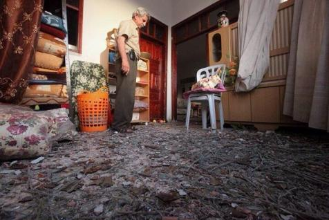 A Hebron home hit by a Hamas rocket on July 12, 2014.