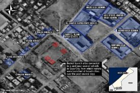 IDF map of Gaza City launcher sites centered among high schools.