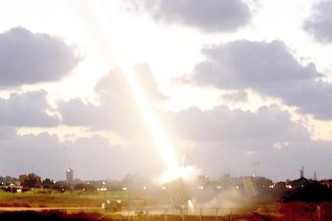 An Iron Dome defensive system firing near Ashdod.