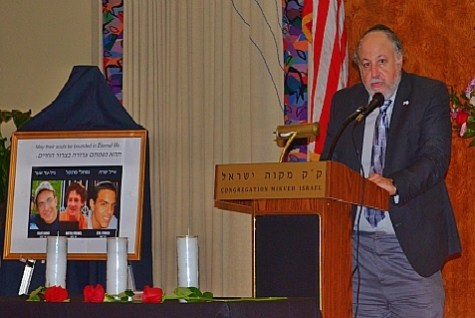 Steve Feldman, executive director of the Greater Philadelphia District of the Zionist Organization of America was one of the speakers at the memorial service for the slain Israeli teenagers held at Mikveh Israel in Philadelphia on July 1, 2014.