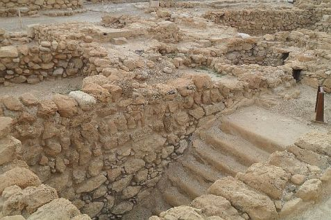 A mikvah in the archaeological excavation of the ancient ascetic Jewish sect that once made its home at Qumran, along the northern shores of the Dead Sea.