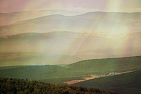 Dusk in the early morning hours seen from Mt Meron, Northern Israel. March 26, 2014.