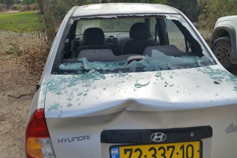 A car that was damaged after a Gaza rocket landed nearby.