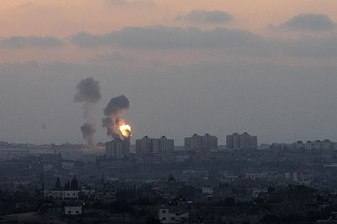 Smoke rises over Gaza after IAF air strike following rocket fire.