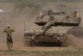 An IDF tank along Gaza's border.