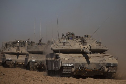 Merkava tank near the Gaza border.