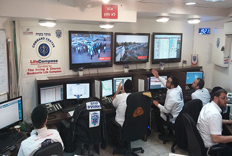 United Hatzalah's LifeCompass dispatchers monitoring events in the field.