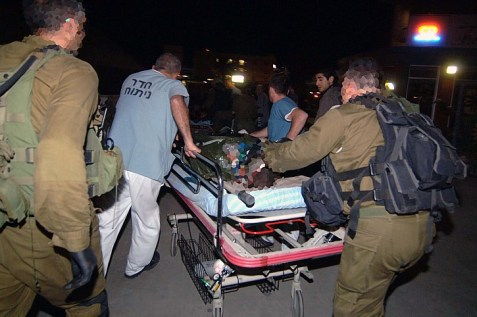 An IDF soldier is taken to the hospital after an attack from Gaza. (archive)