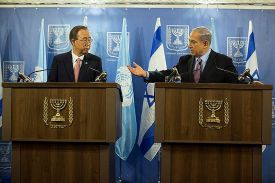 Netanyahu tries to bring UN's Ban down form the moon in Tel Aviv Tuesday.