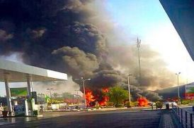 Explosion at Ashdod gas station after missile scores direct hit from Gaza Friday,  July 11, 2014.