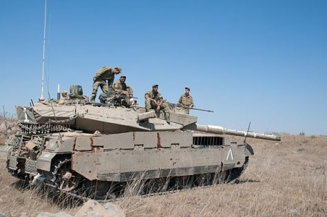 IDF tank protecting Israel along the Syrian border.