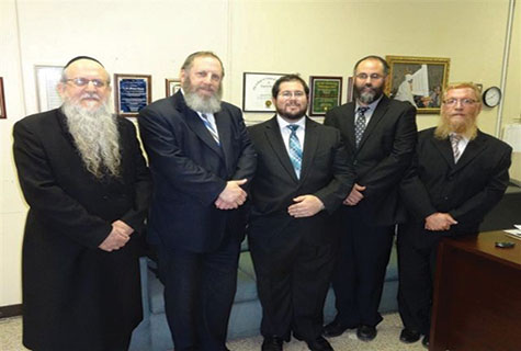 (L-R) Rabbis Tzvi Mandel, Akiva Stolper, Meir Borovetz, Yochanan Ivri and Shlomo Rizel. (Not shown: Rabbi Shmaya Modes.)