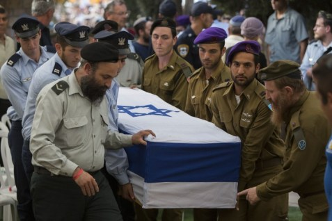 The coffin of Lt. Hadar Goldin being brought to burial.