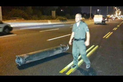 Intercepted rocket fragment that fell on the highway in Gush Dan (Aug. 19, 2014).