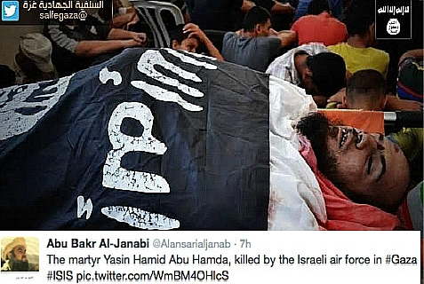 Gazan 'martyr'  abu Hamda draped with ISIS flag, Aug. 22, 2014.
