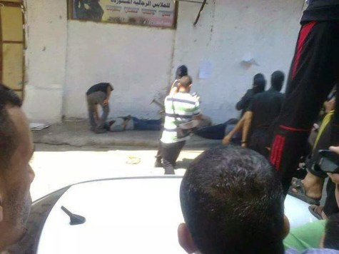 It is believed that this is a photo from the Friday afternoon execution outside a Gazan mosque.