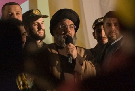 Hezbollah terrorist head Sheikh Hassan Nasrallah.
