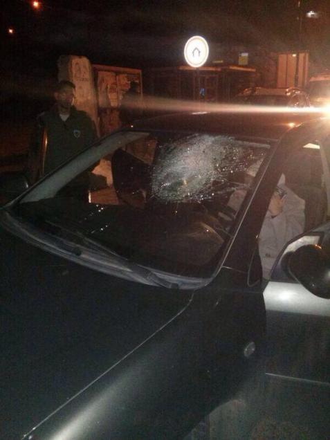 """Innocent"" stone attack on car, south of Hebron"