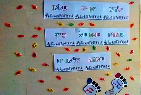 "Candy-laden bulletin board greets children on their first day of school in the lobby of an Efrat apartment building. Sept. 1, 2014. The message reads: ""To our dear children ... may it be a year of fun and happiness in your studies."""