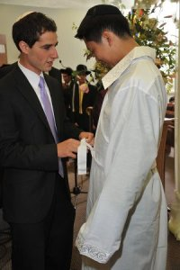 "David Gordon (z""l) on left and the author at his wedding."