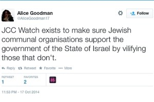 Tweet from Alice Goodman, librettist for 'Death of Klinghoffer' opera, confirming her Zionist conspiracy beliefs and anti-Semitism.
