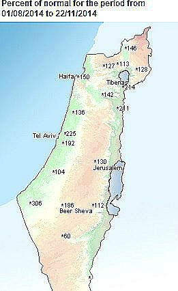 Map shows that most of Israel has received far more than the usual amount o rain for this time of year.