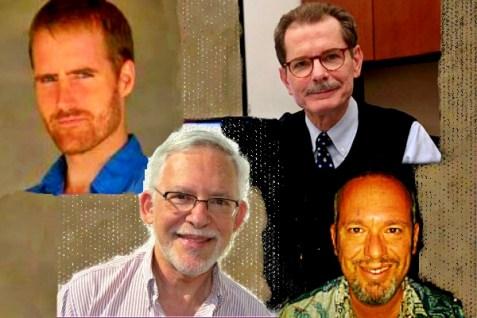 Former AP reporter Matti Friedman (upper left), AP director of media relations Paul Colford (upper right), former AP reporter Mark Lavie (lower left), former AP Jerusalem bureau chief Steve Gutnik (lower right)