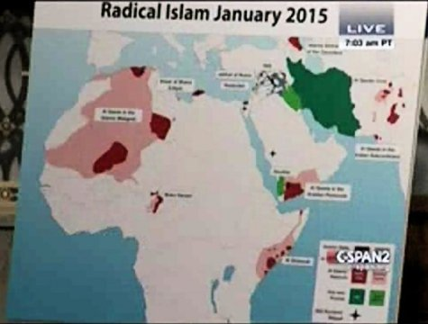 Graphic used by retired Gen. Jack Keane to brief Congress 27 Jan on 4-fold increase in radical Islamic threat since 2010. (Graphic: Institute for the Study of War; CSPAN video)