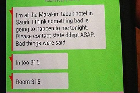 Handout photo of texted message sent by a fearful Christopher Cramer from Saudi Arabia before his death.